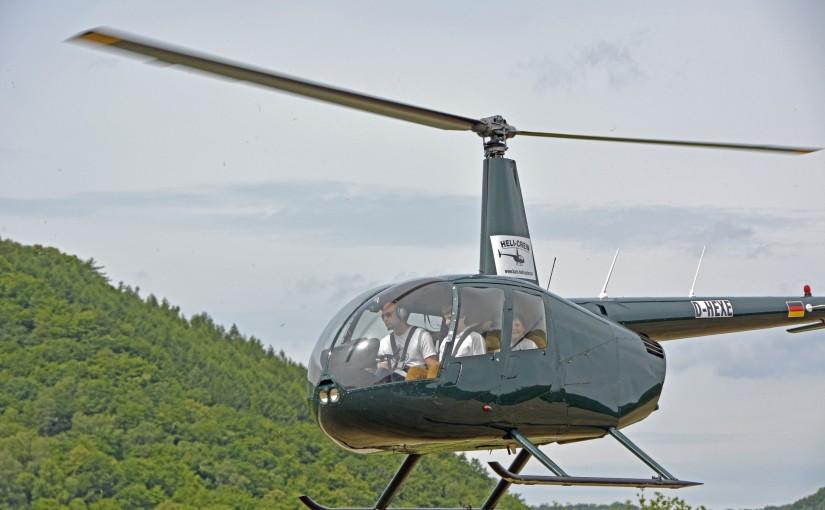Mit dem Hubschrauber…